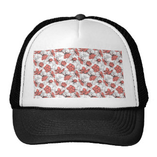 Coral Pink and Gray Vintage Floral Pattern Trucker Hat