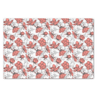 Coral Pink and Gray Vintage Floral Pattern Tissue Paper