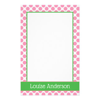 Coral Pink and Green Polka Dot Personalized Stationery