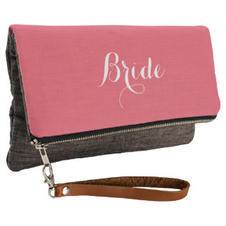 Coral pink and grey bridal clutch bag for bride