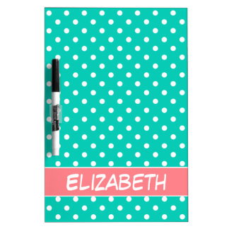 Coral Pink and Island Sea Polka Dot Personalized Dry Erase Board
