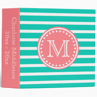 Coral Pink and Island Sea Striped Monogram Binder