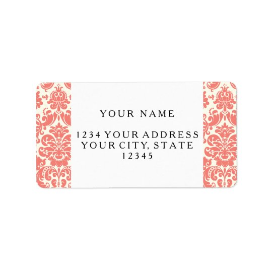 Coral Pink and Ivory Elegant Damask Pattern