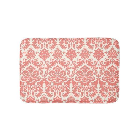 Coral Pink and Ivory Elegant Damask Pattern Bathroom Mat