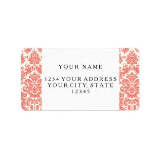 Coral Pink and Ivory Elegant Damask Pattern Label