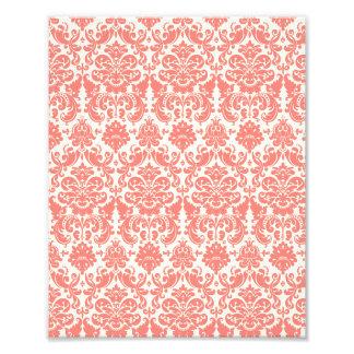 Coral Pink and Ivory Elegant Damask Pattern Photo Print