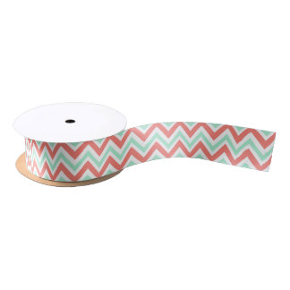 Coral Pink and Mint Green Chevron Pattern Satin Ribbon