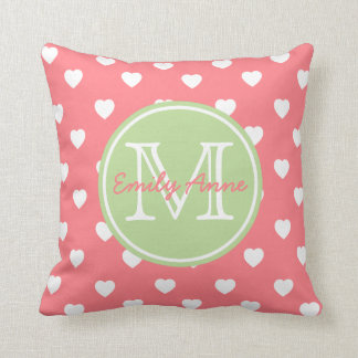 Coral Pink and Mint Green Hearts Monogram Throw Pillow