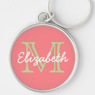 Coral Pink and Mint Green Monogram Silver-Colored Round Keychain