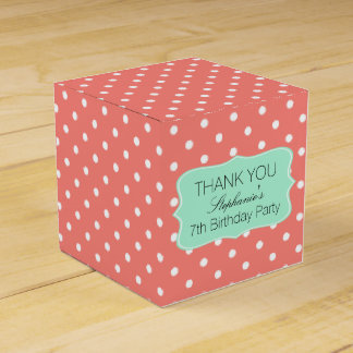 Coral Pink and Mint Green Polka Dot Birthday Party Favor Boxes