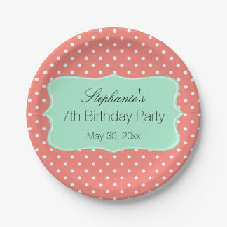 Coral Pink and Mint Green Polka Dot Birthday Party Paper Plate