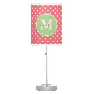 Coral Pink and Mint Green Polka Dot Monogram Table Lamp
