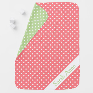 Coral Pink and Mint Green Polka Dot Reversible Baby Blanket