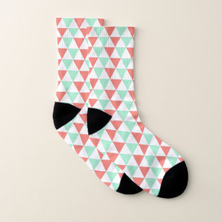 Coral Pink and Mint Green Triangle Pattern 1