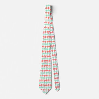 Coral Pink and Mint Houndstooth Pattern Tie