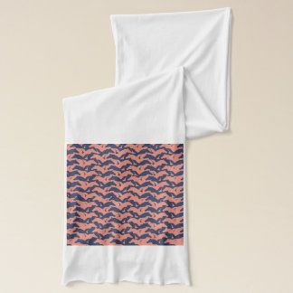 Coral Pink and Navy Blue Horse Herd Pattern Scarf