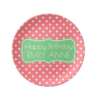 Coral Pink and Sea Green Polka Dot Personalized Plate