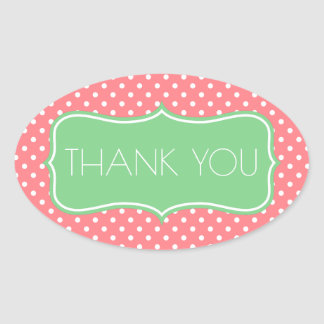 Coral Pink and Sea Green Polka Dot Thank You Oval Sticker