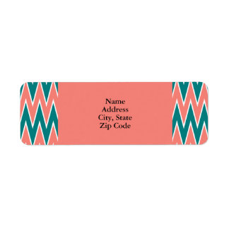 Coral Pink and Teal Zigzag Pattern Return Address Label