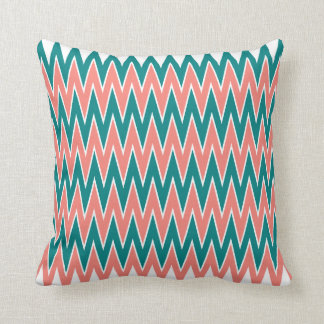 Coral Pink and Teal Zigzag Pattern Throw Pillow
