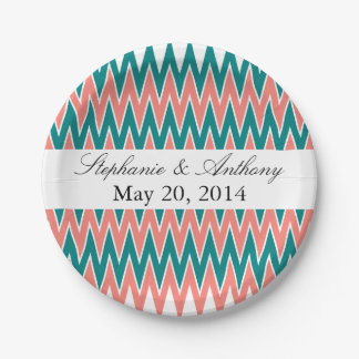 Coral Pink and Teal Zigzag  Wedding Paper Plate