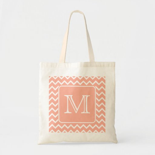 Coral Pink and White Chevron with Custom Monogram. Tote Bags