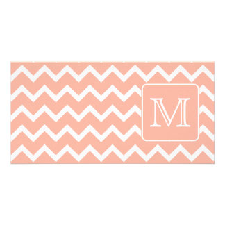 Coral Pink and White Chevron with Custom Monogram. Photo Card