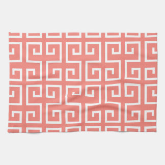 Coral Pink and White Geometric Pattern Kitchen Towel