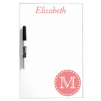 Coral Pink and White Polka Dot Monogram Dry Erase Board