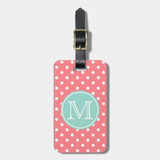 Coral Pink and White Polka Dots with Cool Aqua Luggage Tag