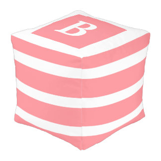 Coral Pink and White Stripe Monogram Pouf