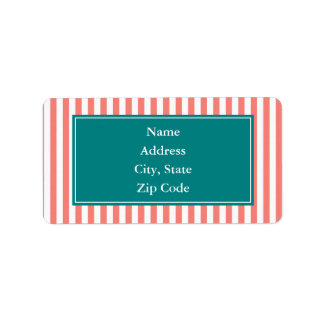 Coral Pink and White Stripes Label