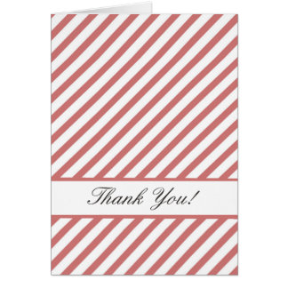 Coral Pink and White Stripes Thank You Note Card
