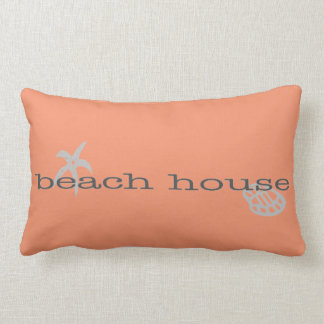 Coral Pink Beach House Pillow with Seashells