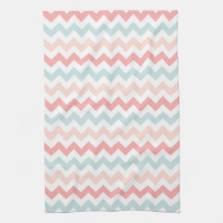 Coral, Pink, Blue Chevron Kitchen Towel