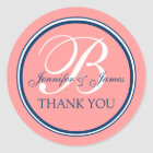 Coral Pink Blue Thank You Stickers for Weddings