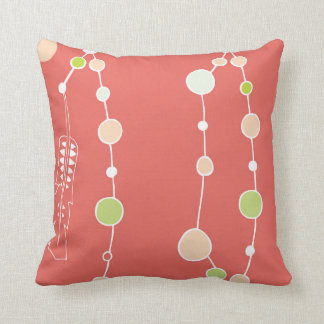 Coral Pink Boho Dreamcatcher Pattern Throw Pillow