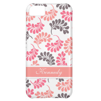 Coral Pink Brown Floral Pattern Case For iPhone 5C