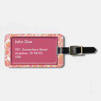 Coral pink bubbles luggage tag
