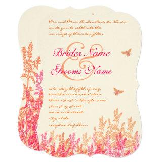 Coral Pink Bumblebee Wildflower Wedding Invitation