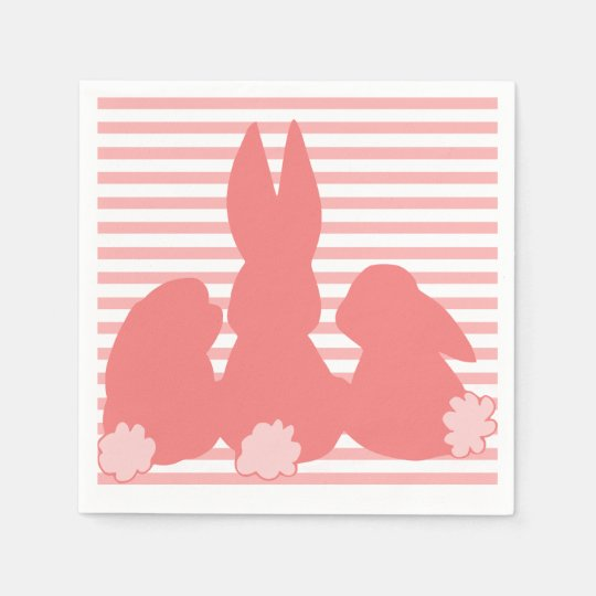 Coral Pink Bunnies - Striped Paper Napkins