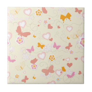 Coral Pink Butterflies and flowers Ceramic Tile
