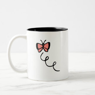 Coral Pink Butterfly Two-Tone Coffee Mug