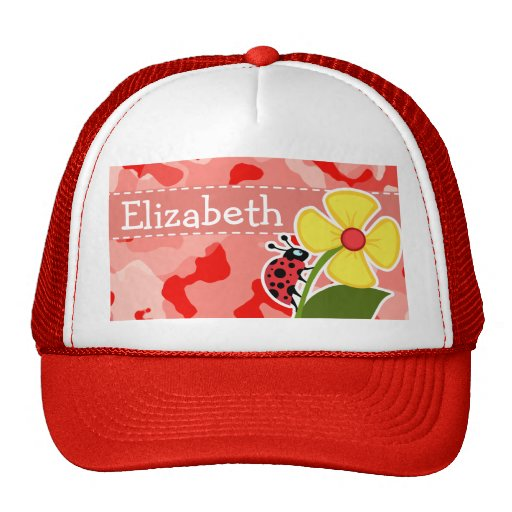 Coral Pink Camo; Ladybug Mesh Hat
