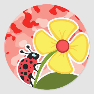 Coral Pink Camo Ladybug Round Stickers
