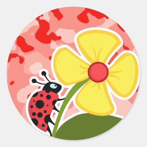 Coral Pink Camo; Ladybug Round Stickers