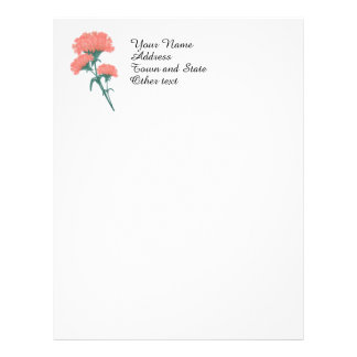 Coral Pink Carnations Cluster Letterhead