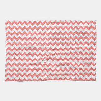 Coral Pink Chevron Kitchen Towel