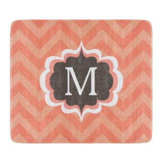 Coral Pink Chevron Pattern Custom Monogram Cutting Board