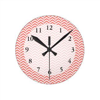Coral Pink Chevron Pattern Round Clock